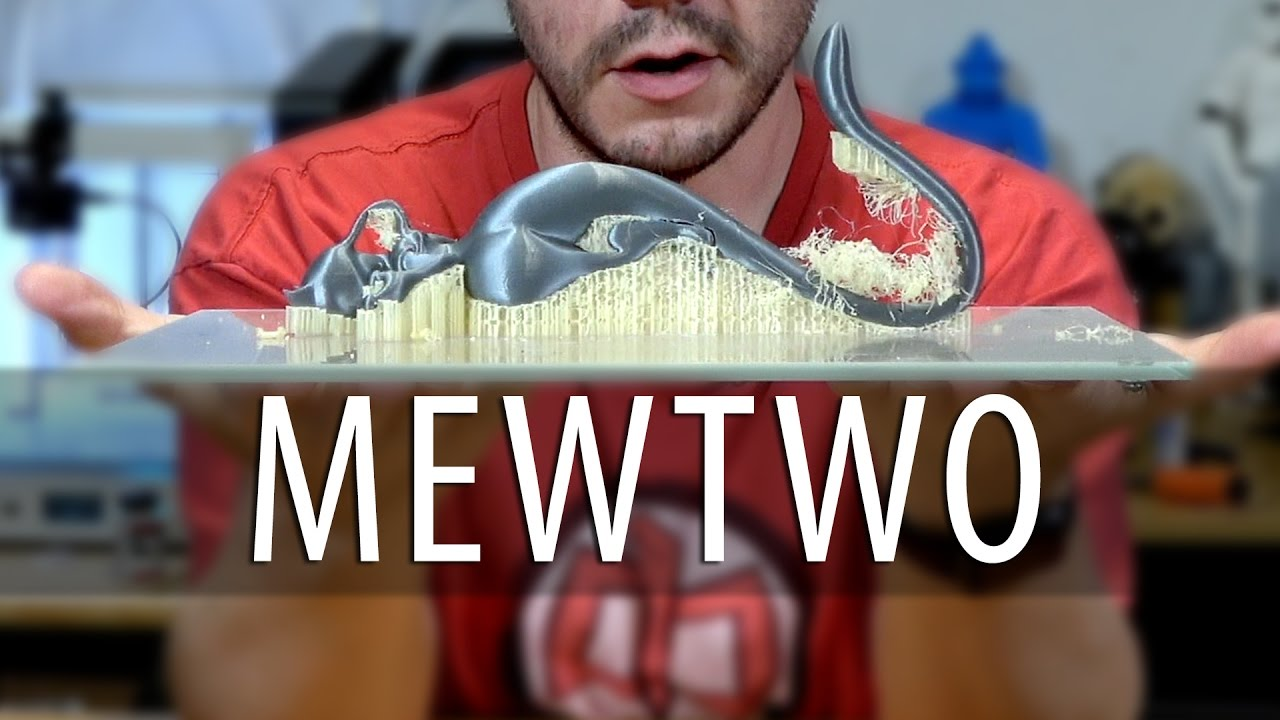 Mewtwo Pokemon on Two 3D Printers Using Dissolvable Support (PVA Filament)